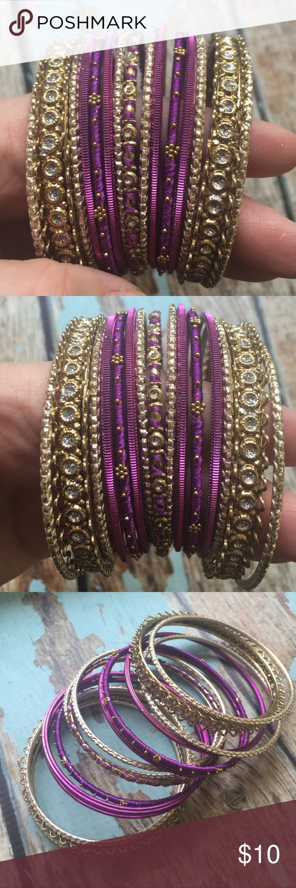 Gold and purple Indian bangles Set of 15 gold and purple glittery Indian wedding bangles-  really beautiful- never worn. Jewelry Bracelets