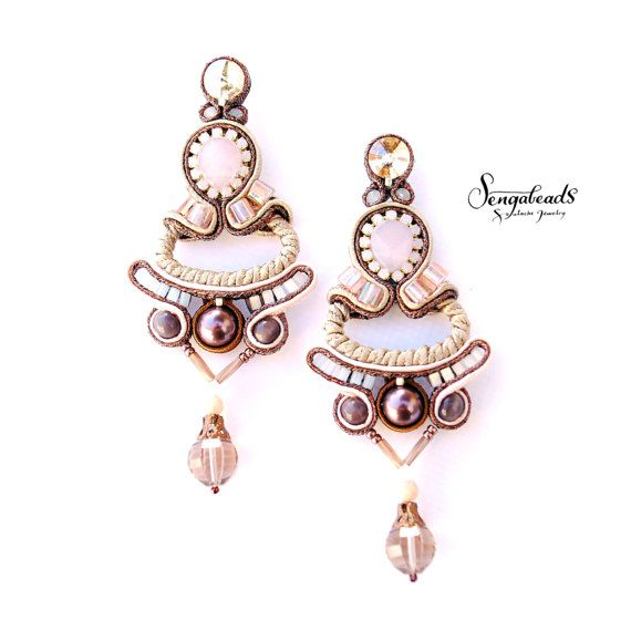 Hand embroidered soutache earrings with metallic by Sengabeads