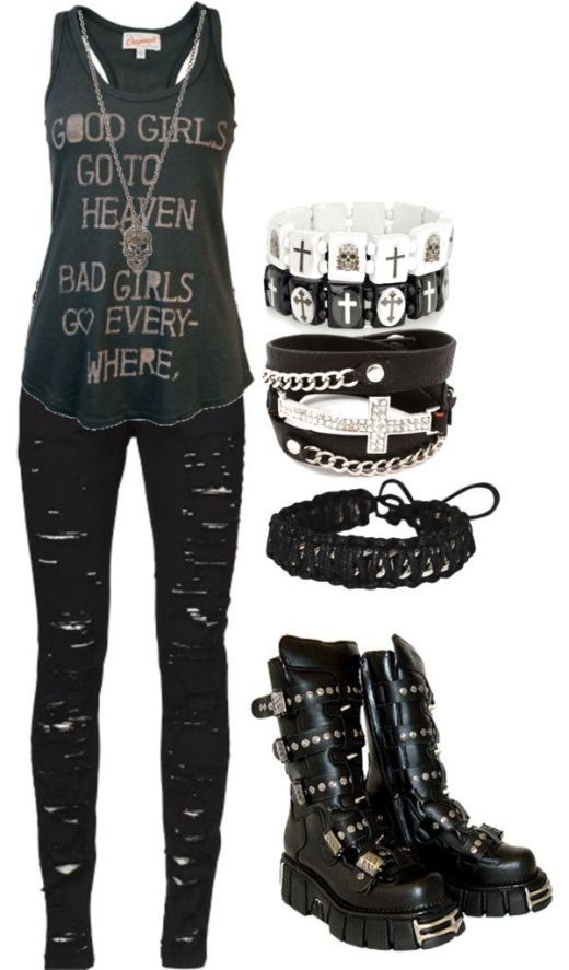 Emo punk clothes -take away the boots and add some killer chain heels/ankle boots and I'm loving it!!! Discover and share your fashion ideas on www.popmiss.com