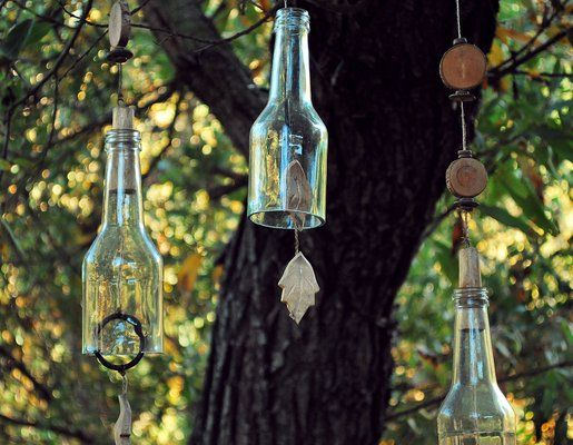 My husband has made a few of these windchimes out of old wine bottles, very unique looking and easy to do