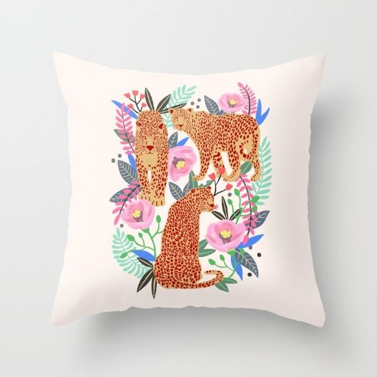 The Leopards by Uzualsunday. #Uzualsunday #society6 #pillow #art #drawing #flower #floral #leopard #print #leaf #animal