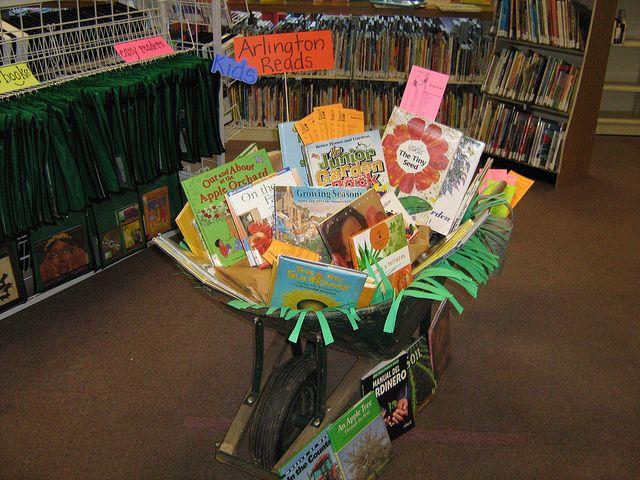 library book display using a wheelbarrow - SRP 2013