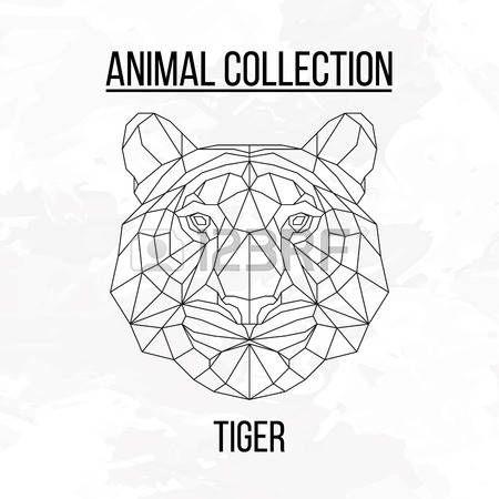 animales de fondo geométrico de la cabeza del tigre Vectores