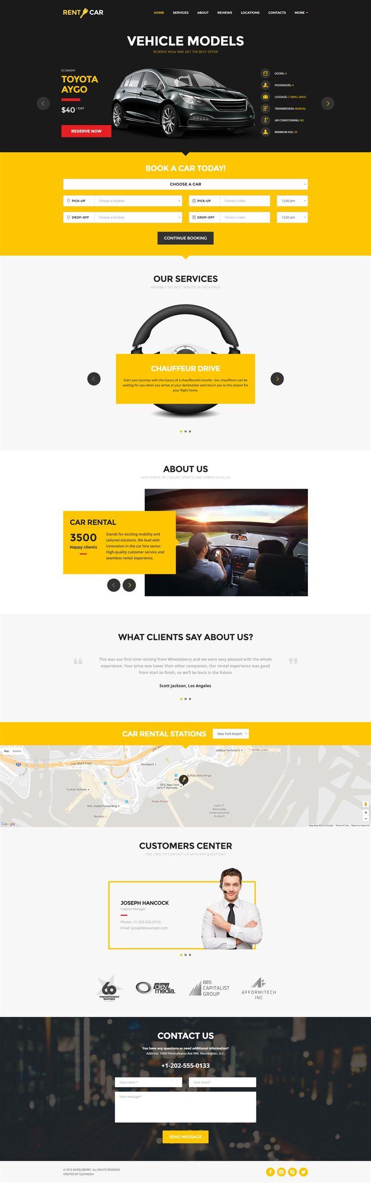Wheelsberry car rental wordpress theme landing page