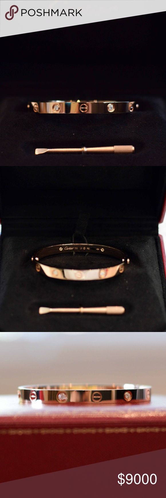 Auth Cartier Love Bracelet 18k Rose Gld 4 Diamonds 100% Authentic Cartier Love Bangle Bracelet - 18K Rose Gold - with 4 diamonds - Size 18.  Bracelet has been handled a few times - mainly for admiration, but most recently to photograph for this listing.  Selling thru Poshmark only. Please see below regarding sale price.  I consider this bracelet new cause it has never been worn, although there may a be a few hairline scratches from handling.  Comes with original Cartier boxes, screwdriver…