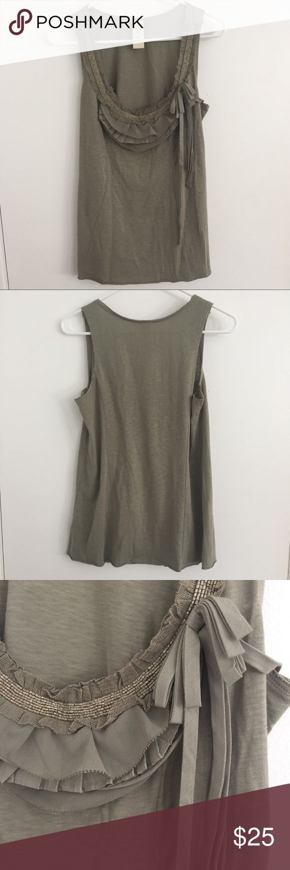 Anthropologie Pretty Embellished Cotton Tank Top This pretty tank is sage green and embellished with beads and ruffles. It has a unique vertical seamed construction and is 100% cotton. Never worn.  RESERVED FOR A BUYER HAVING TROUBLE WITH PM BUNDLE FEATURE. Anthropologie Tops Tank Tops