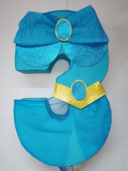 Princess Jazmin number 3 Pinata. Jazmin piñata inspired. Jazmin Birthday Party. Princess Jazmin decoration. Aladdin Birthday Party.