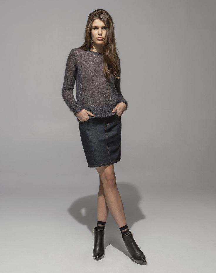 Metallic Mohair Sweater (Amethyst) 5 Pocket Stretch Denim Skirt (Indigo)