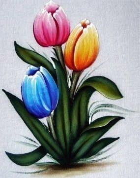 Pintura em Tecido, Como fazer, Passo a passo, Riscos e muitas dicas.: Pintura em Tecido Tulipas