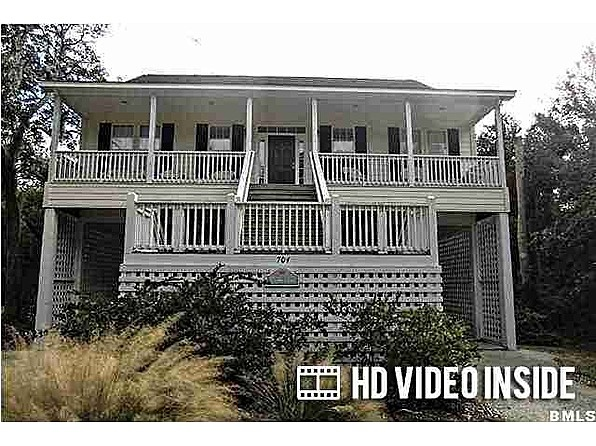 "HD Video Production: Click ""Virtual Tour"" Link. Huge 6 Bedroom 6 Bath just steps from beach. Very large Great Rm opens to large Kitchen. Kitchen Bar can seat over half a dozen easy. Raised Beach style with huge front and back porches. Under home room for parking 4+. Storage for beach chairs, bikes, golf carts, etc. Upstairs kids playroom. Bath for every room. #zillow"