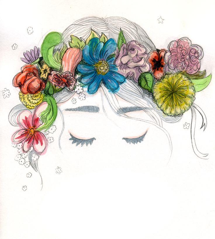 Ilustración. Primavera despierta con flores en el pelo. Lápiz, acuarela y celebración del equinoccio.  Ilustración creada por Estela Labajo Duque