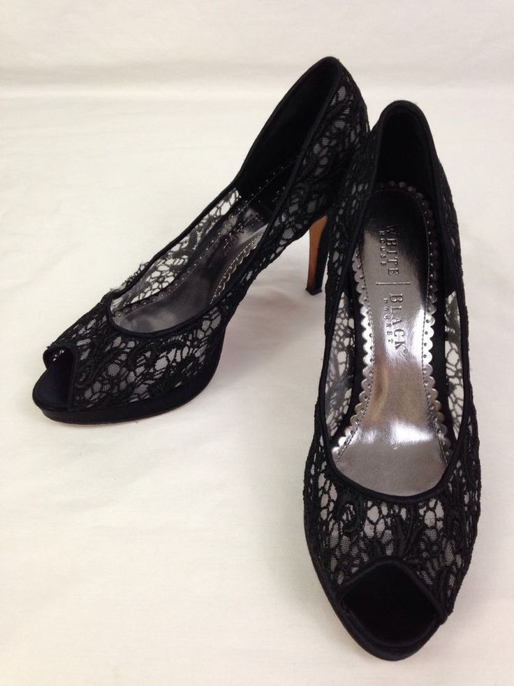 White House Black Market Heels Womens M Size Open Toe Pumps Shoes Black Lace