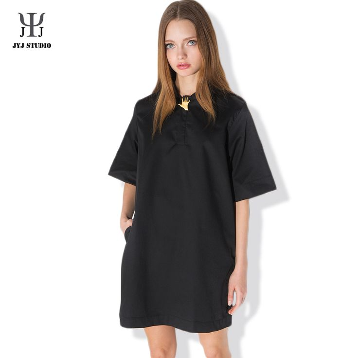 Aliexpress.com : Buy Summer Casual Sweet Dress For Women Plus Size Lapel Half Sleeve Polyester Pure Black Metal buckle Decoration One piece Dress from Reliable sweet dress up suppliers on JYJ STUDIO