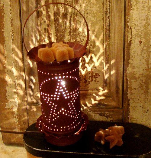 Star Tin Punched Burgundy Electric Tart Warmer Burner-Electric Tart Warmer,Electric Tart Burner,Tin Punched Tart Warmer,Star Tart Warmer,Sta...