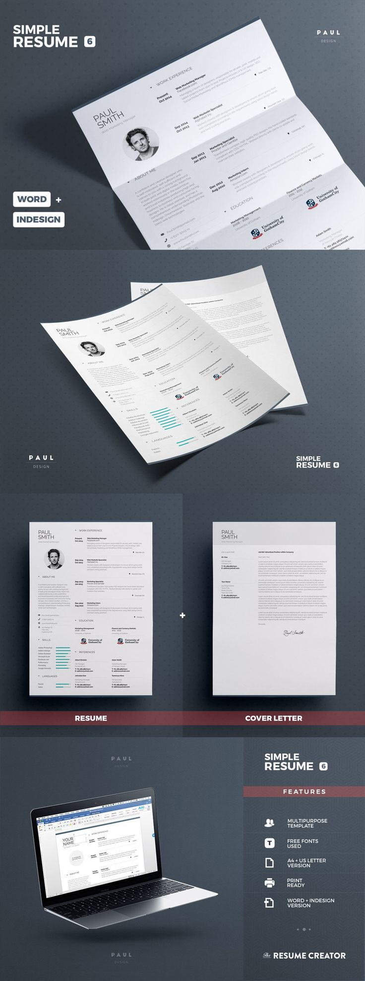 professional and creative infographic resume cv design template indesign indd ms word
