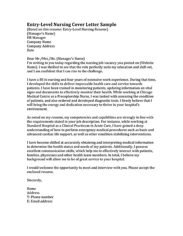 Job Cover Letter Nursing