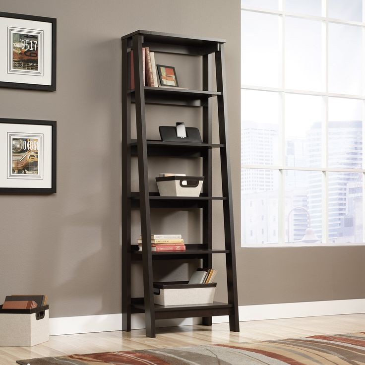 Sauder Trestle 5-Shelf Bookcase - Jamocha Wood | from hayneedle.com