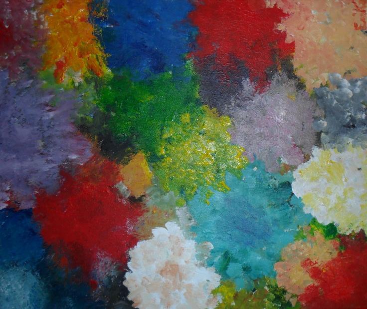 GÉRANIUM  Tableau unique peint en 2006  Technique : Peinture acrylique  La toile est montée sur châssis bois.