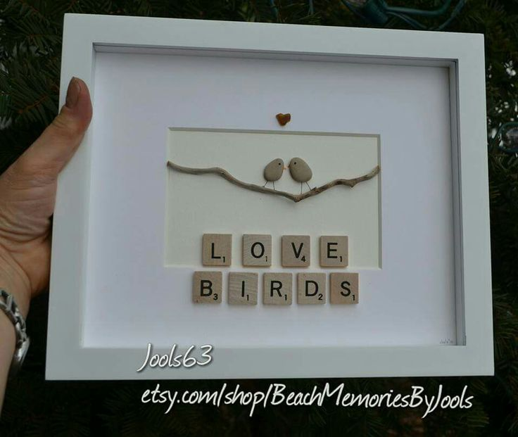 Love birds, scrabble art, scrabble tile art, pebble art, rock art , stone art, rock birds,  stone birds, beach glass art, seaglass art, wedding gift, anniversary gift, valentine's gift,  engagement gift, etsy,  etsy shop,
