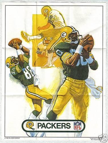 1982 Kellogg's Raisin Bran Cereal NFL Team Poster Insert Green Bay Packers http://clektr.com/y1l
