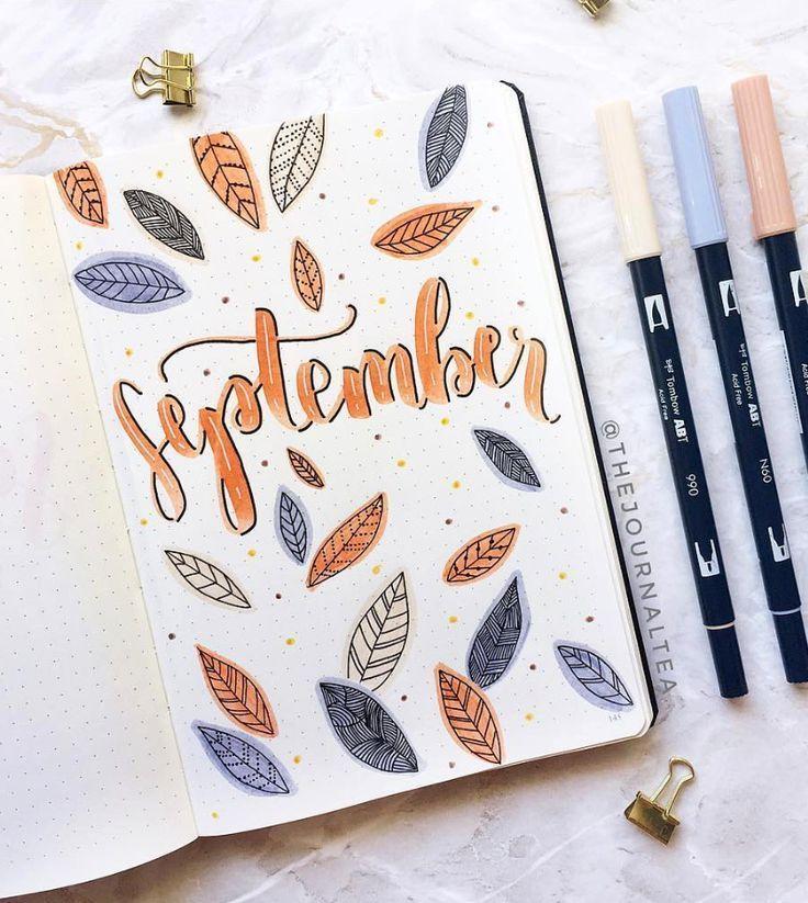 Der Herbstlaub fliegt im wunderschönen Bullet Journal Cover von ig @ thejourn herum