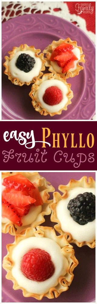 These Easy Phyllo Fruit Cups only take about 15 minute to make. A light dessert idea that is simple enough for kids and fancy enough for party guests. via @favfamilyrecipz