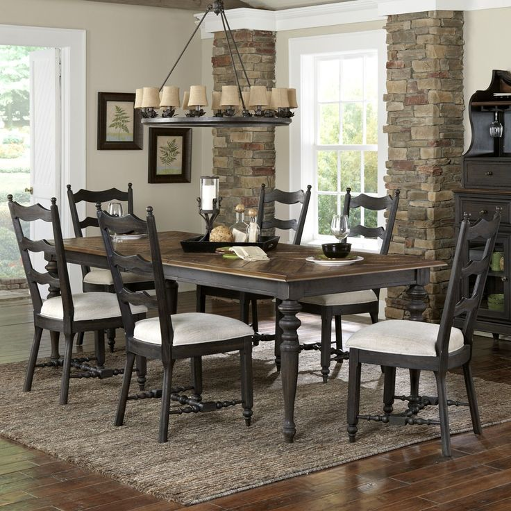 barnhardt wood dining table upholstered chairs in french black and natural acacia by magnussen home - Magnussen Dining Room Furniture