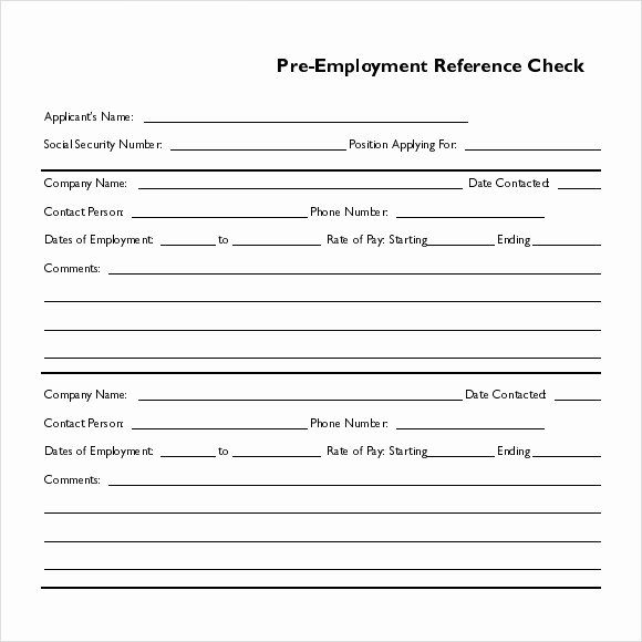Sample Reference Check Form Lovely Reference Check Form Candidate