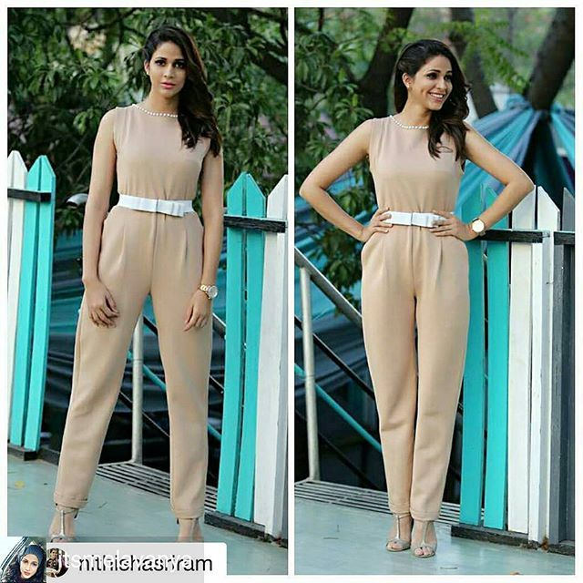 from @itsmelavanya -  #Repost @nithishasriram (@get_repost) ・・・ Nude hues done right @itsmelavanya #SummerJumpsuit by @archanaraolabel  Pearl studs by @forever21 Watch @fossil Hair and makeup @emraanmakeupartist styled by @nithishasriram Picture courtesy : @merpkj  Location : @kavanah.in  #nüdes #summer #hues #fashionforward #classy  #chic #trendy #stylish #fashionable #womanwithstyle