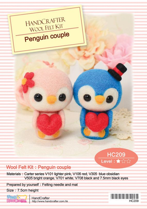 Needle FeltingDIY Penguin couple - English felt wool craft kit (English / Beginner)