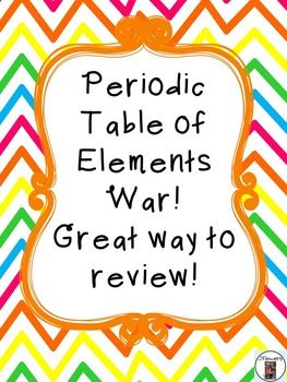 Just like the card game war, but instead with the elements on the Periodic Table. After students have learned about the atomic #, atomic mass, protons, electrons, & neutrons this is a great way to review them.I like to play using either the highest atomic number, atomic mass, or you can even use protons, electrons, or neutrons.
