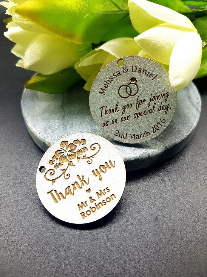 Thank you Round White Wash Timber Tags