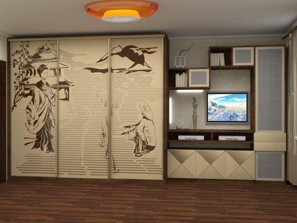 красивые шкафы купе в гостиную фото