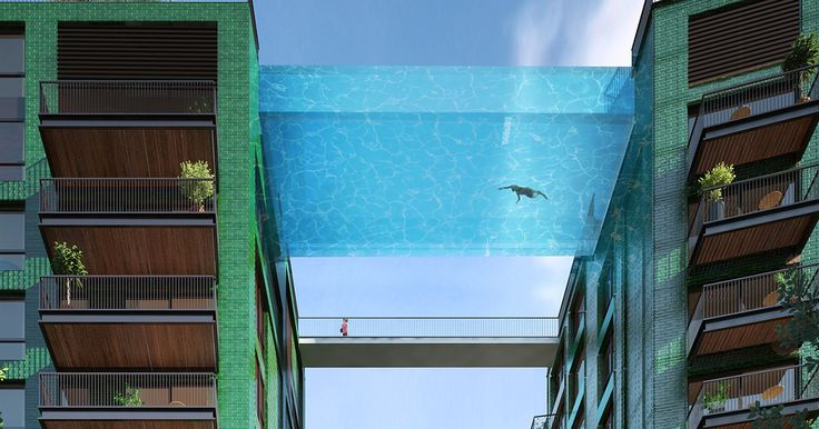 """World's First Glass-Bottom """"Sky Pool"""" Will Let You Swim 115 Feet Above London 