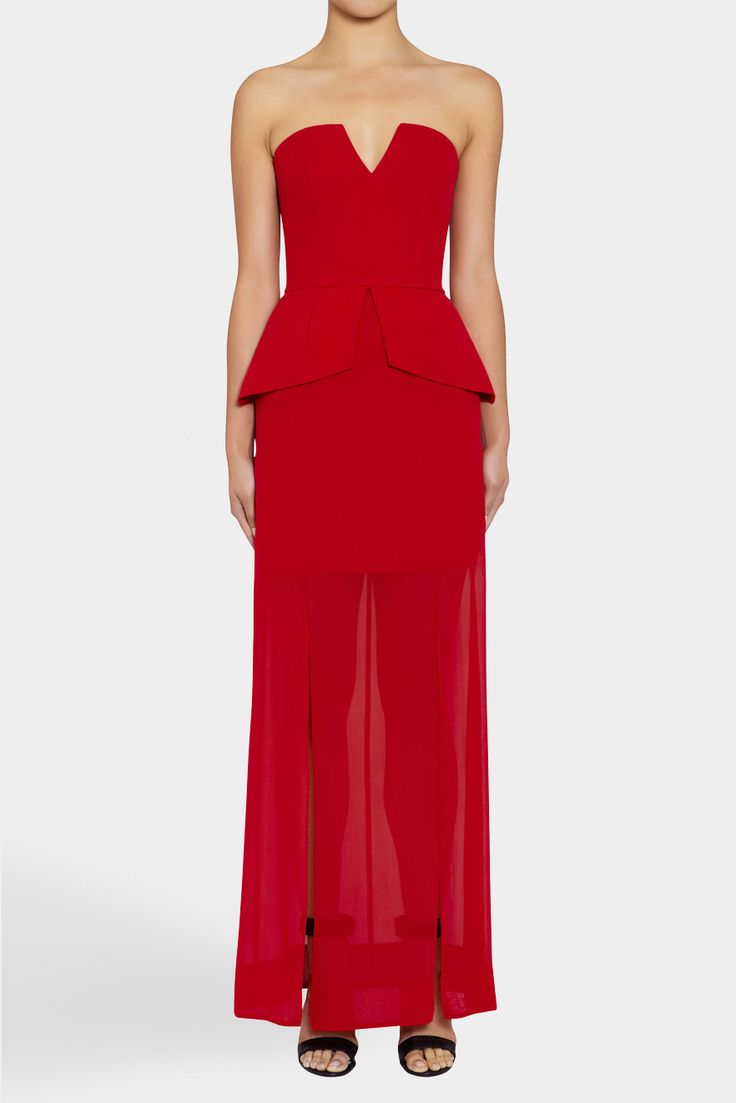 Event Strapless Peplum Maxi - RUBY | NICHOLAS | Green with Envy