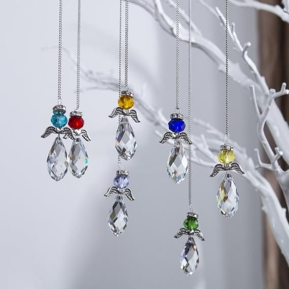 Pink Crystal Guardian Angel Suncatcher Hanging Rainbow Maker Ball Window Prisms