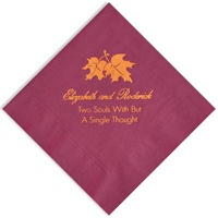 3 ply cocktail napkins with bold leaf design personalized with up to 3 lines of custom text