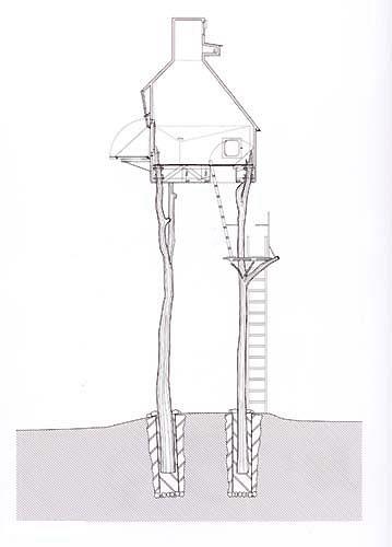 "Takasugi-an by Terunobu Fujimori Takasugi-an, which literally means, ""a teahouse [built] too high."" http://archporn.wordpress.com/2009/03/16/takasugi-an-by-terunobu-fujimori/"