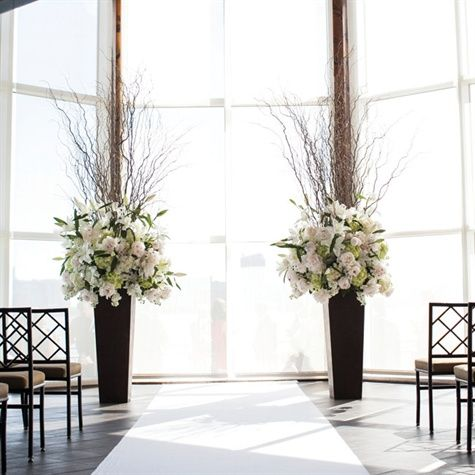 black and white Wedding ceremony - large arrangements
