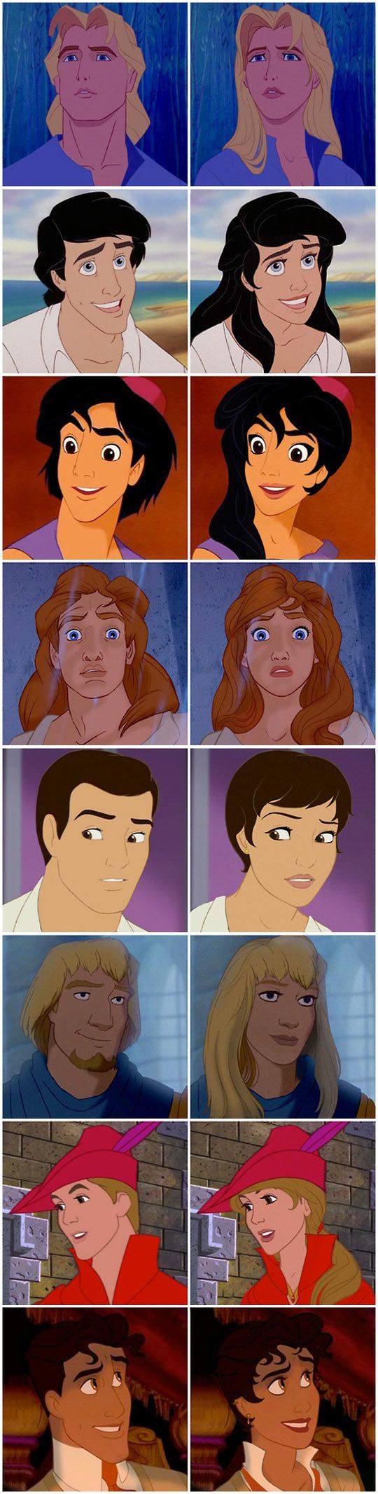 Man vs woman Disney characters xD loved this