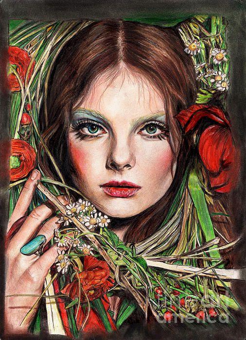 Au Printemps. Arual Jay. #drawings #art #illustration #flowers #portrait
