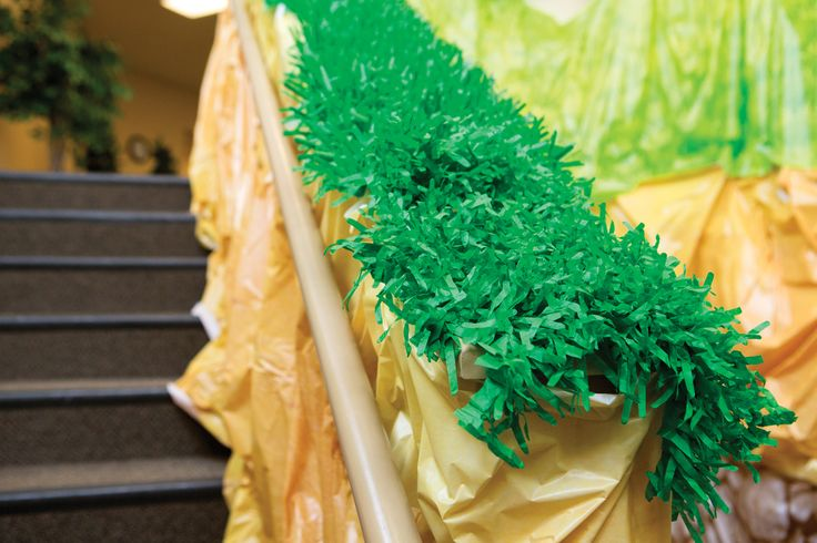 Stair Grass: Tissue Paper grass lets kids know that they are moving from above ground into the cave! #cavequest