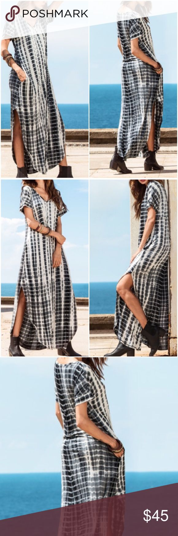 Tie Dye Split Curved Hem Maxi Dress. Price firm. Tie Dye print, split curved maxi dress. Side pockets. Color-black/white. Material-Rayon. Please use size chart for exact measurements. (#5506) Also available in Coffee/brown/white  Tie Dye, see separate listing. Boutique Dresses Maxi