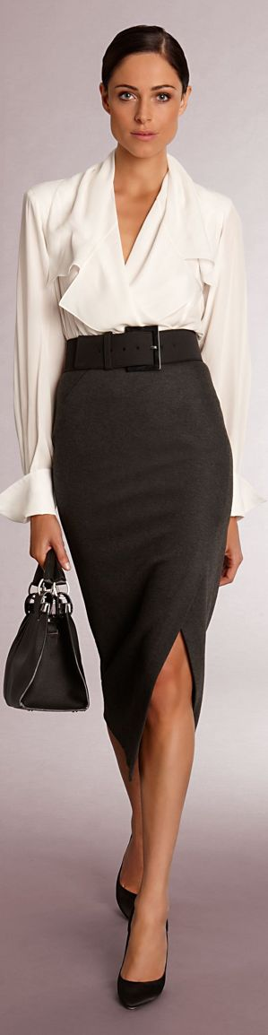 Chic Professional Woman Work Outfit. Donna Karan Business Style. I like it.