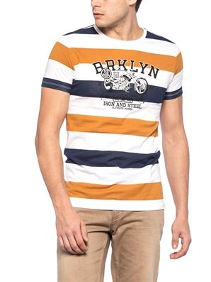 Brown Skinny Striped Crew Neck T-Shirt, Urun kodu: 7YJ125Z8-755,Fit:Skinny,Design:Striped,Product Type:T-shirts,Neck Type:Crew Neck,Main Fabric:%100 Cotton,