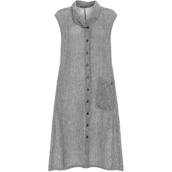 Elemente Clemente Grey Plus Size Sleeveless shirtdress ($305) ❤ liked on Polyvore featuring dresses, grey, plus size, sleeveless shirt dress, button shirt dress, sleeveless dress, grey dress y collar dress