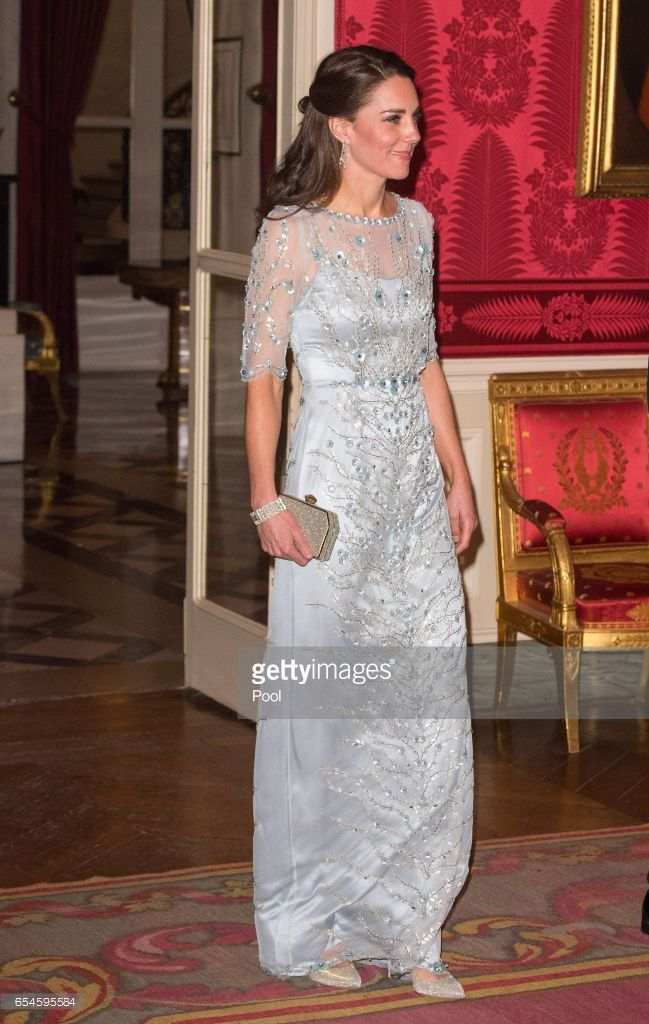 Catherine, Duchess of Cambridge attends a dinner hosted by Her Majesty's Ambassador to France, Edward Llewellyn, at the British Embassy in Paris, as part of their official visit to the French capital on March 17, 2017 in Paris, France. (Photo by Dominic Lipinski -  Pool / Getty Images)