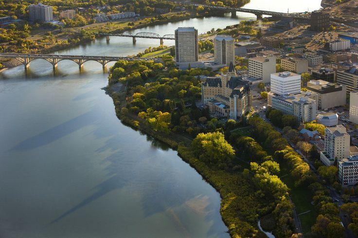 Aerial view of Downtown Saskatoon