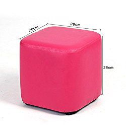 UUSSHOP Square Wooden Upholstered Footstool Footrest Ottoman Pouffe Chair Foot Stool Cube Seat with PU Leather Cover ( Rose )