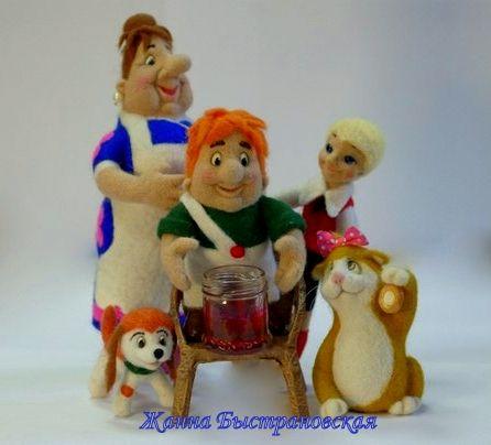 Интерьерная скульптура, игрушка из шерсти Фреккен Бок, Малыш, Карлсон, кошка Матильда, щенок (шерсть, пластика)